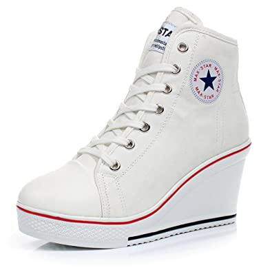 c32b60db8b8857 Ghope Wedges Trainers Heels Sneakers Platform High Hi Top Ankles Lace Ups  Zip Boots (UK7