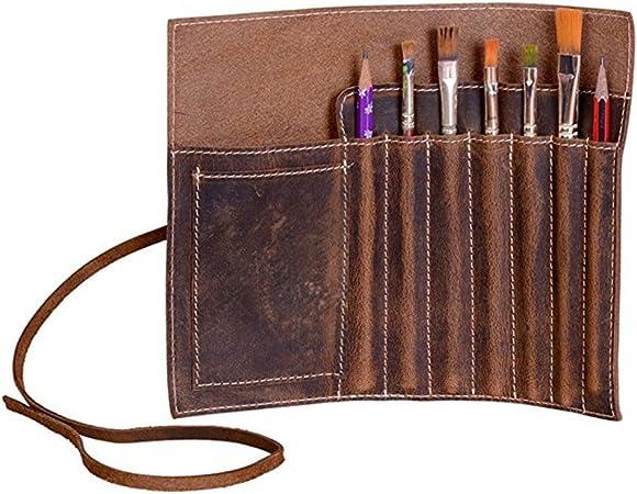 Chenyu - Estuche de piel para lápices, pluma estilográfica, rollo de estuche ninguna marrón: Amazon.es: Hogar