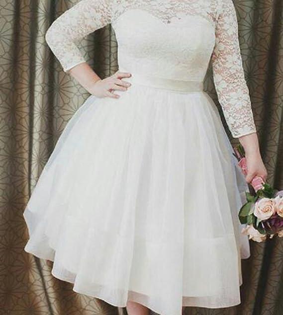 46735c32ce5 Ethel Women s Lace Top Long Sleeves Plus Size Tea-Length Wedding Dresses  Bridal Gowns at Amazon Women s Clothing store