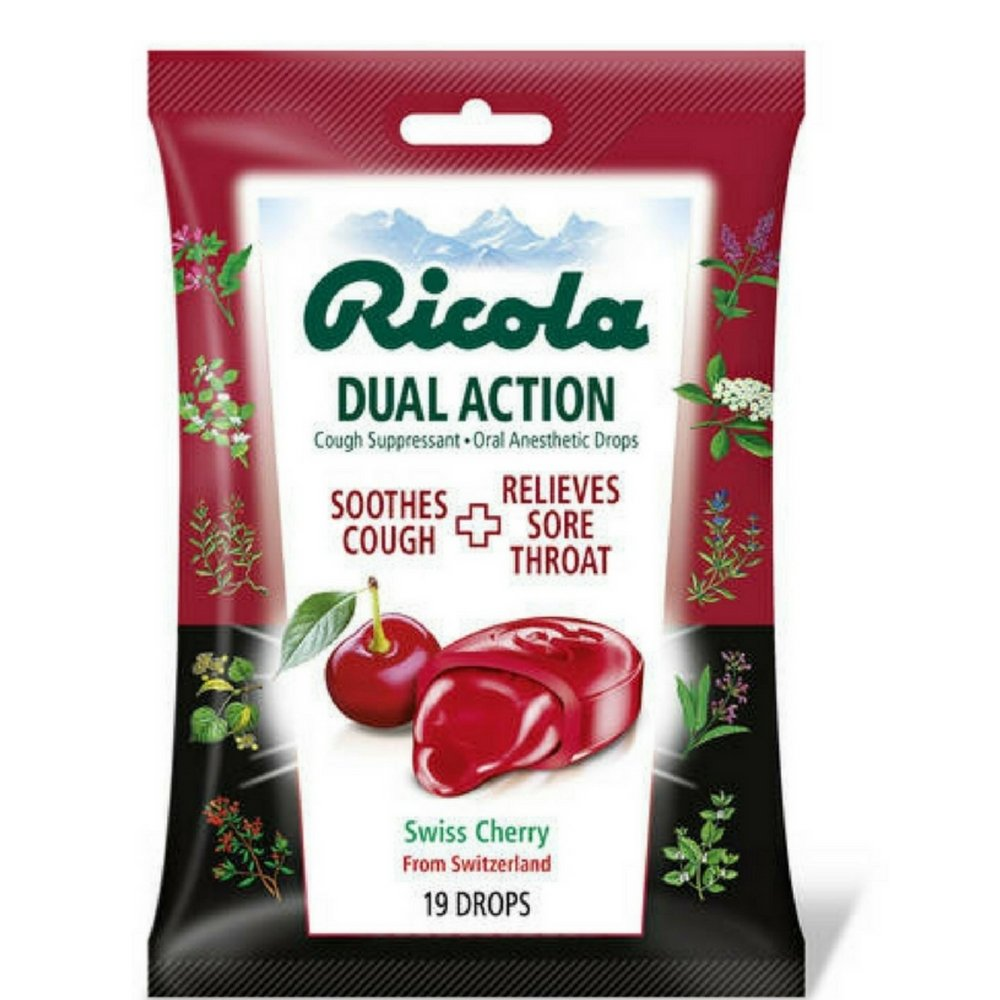 Ricola Dual Action Cough Suppressant Oral Anesthetic Drops, Swiss Cherry 19 ea (Pack of 12) by Ricola