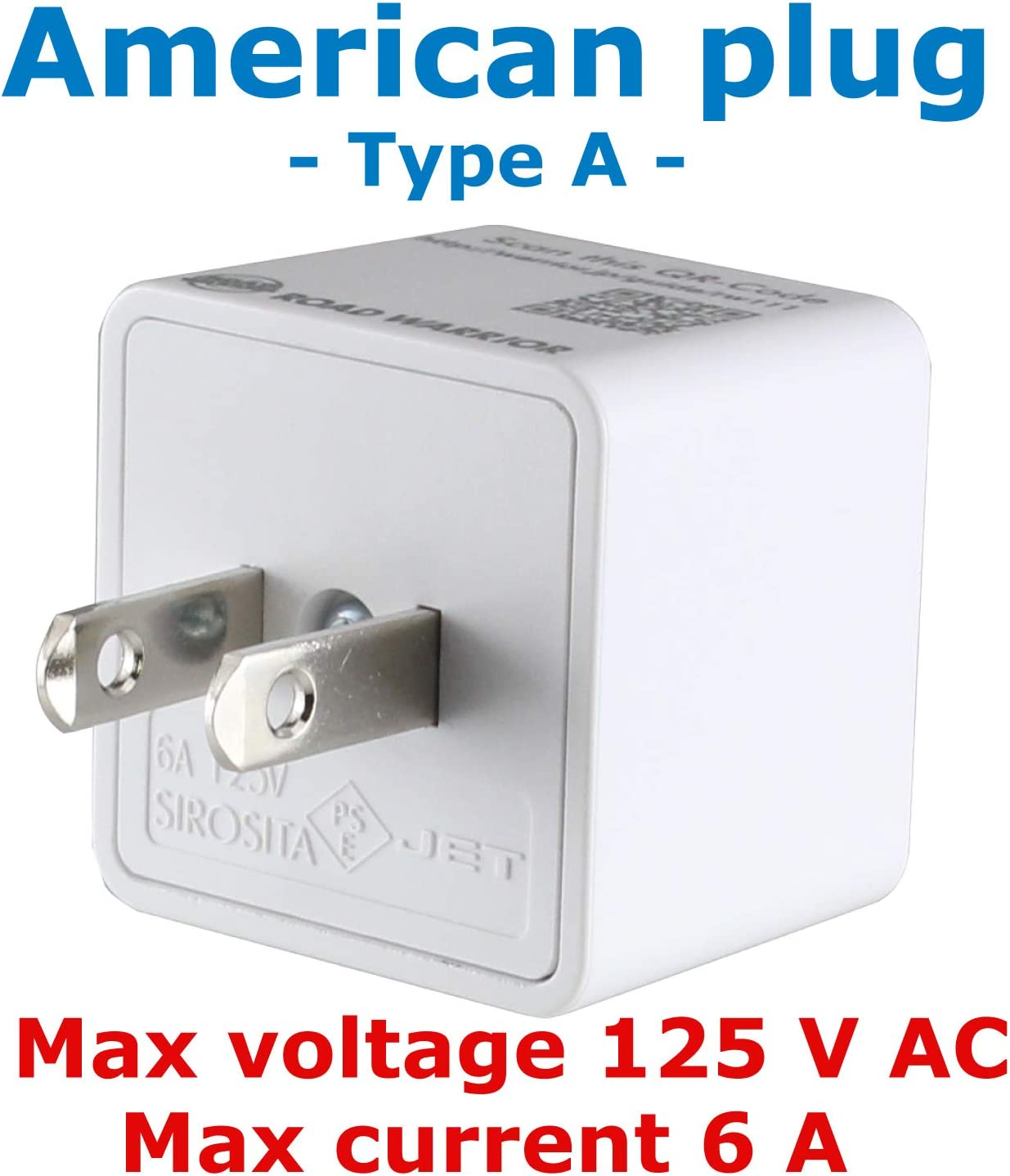 ROAD WARRIOR US Travel Plug Adapter EU/UK/CN/AU/IN to USA (Type A) - RW111WH-US - -
