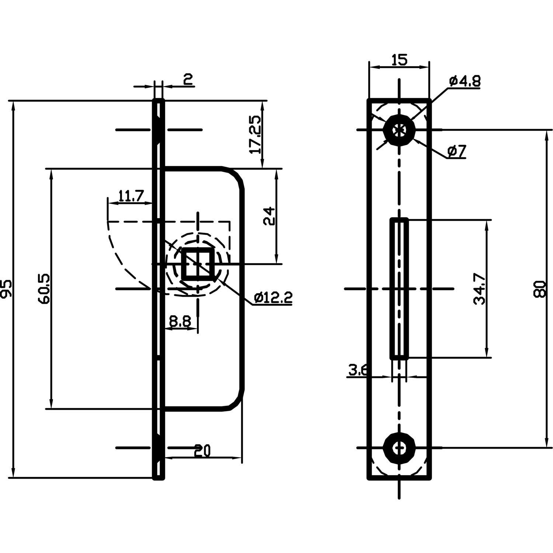 Stahl verzinkt rund Einstemmzunge mit Schlie/ßblech DM 10,8 mm