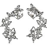 Szxc Jewelry Women's Crystal Butterfly Ear Wrap Cuff Earrings for Pierced Ears