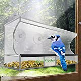 Bird Feeder, AnTom Large Acrylic Clear Window Hangout Bird Feeder with Removable Seed Tray, 3 Suction Cups