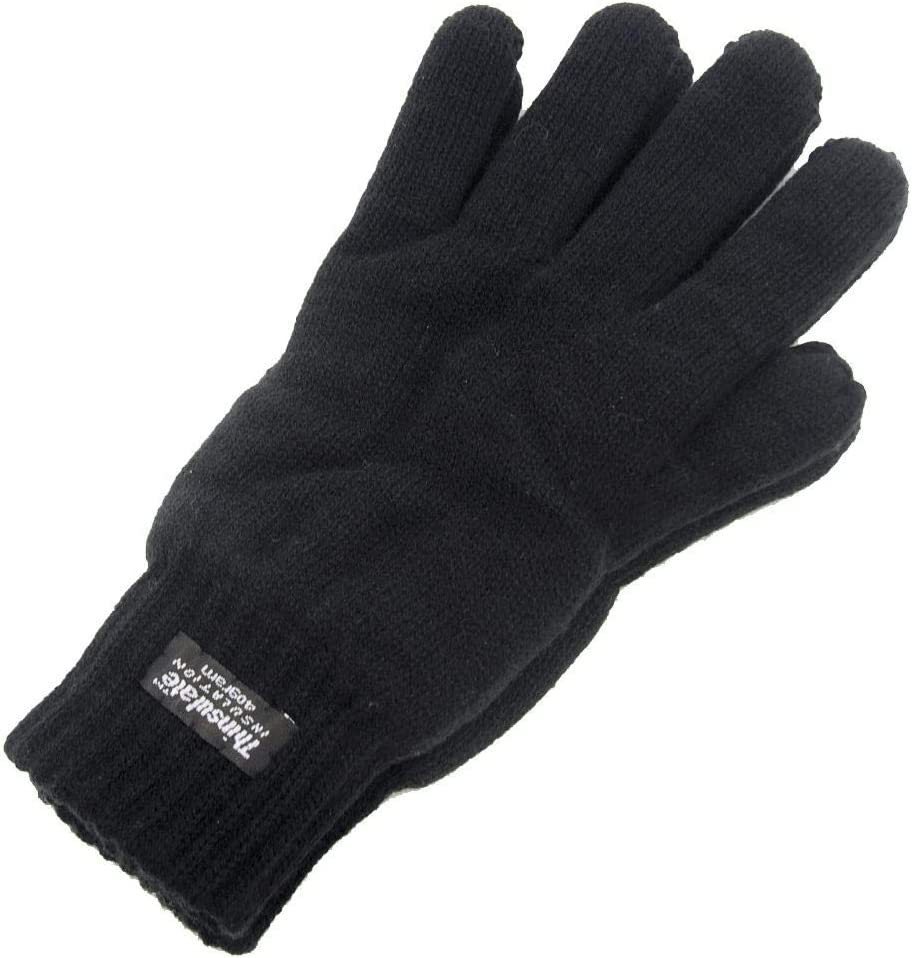 Mens Thinsulate Knitted Gloves Black One Size