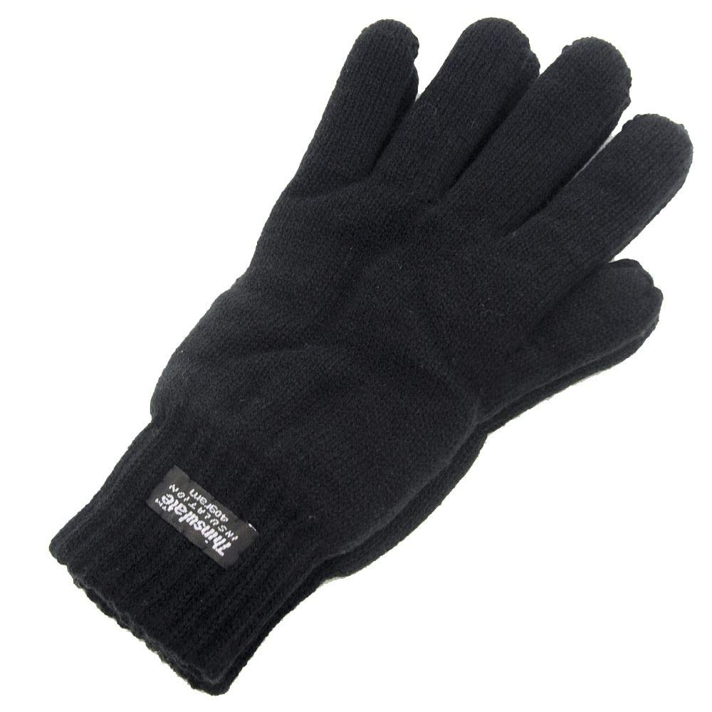 Men's Extra Warm Thermal Knitted Gloves 40g Thinsulate Lining Black Medium/Large RJM