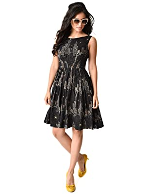 Vintage Style Black New York City Lights Print Sleeveless Abigail Dress