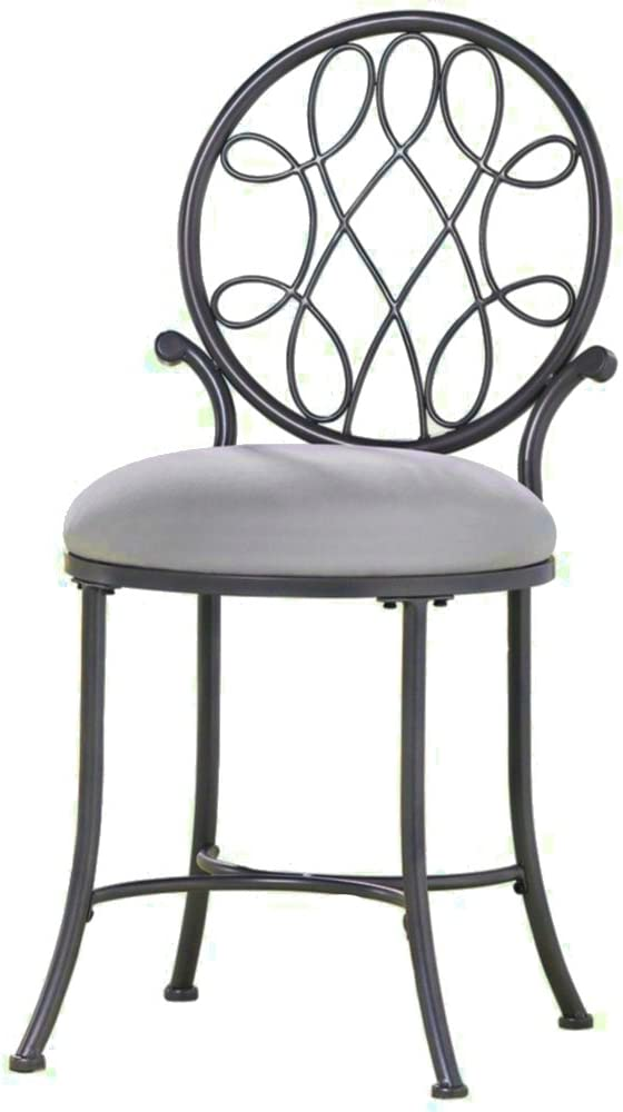 Vanity Stool Gray Makeup Sturdy Chair Seat Bedroom Cushion Bath Furniture Accent