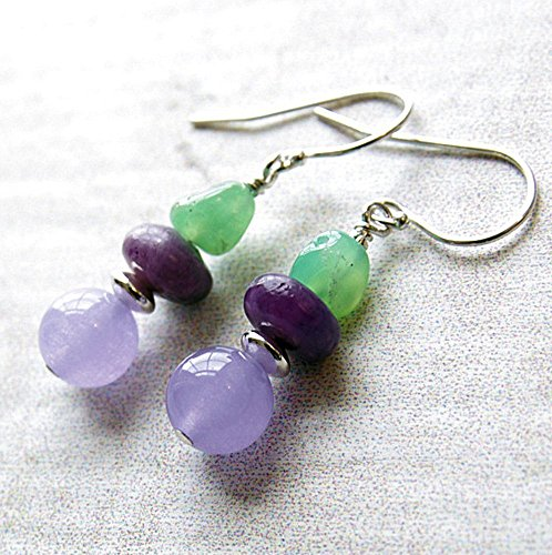 Sugilite Earrings Lavender Jade Chrysoprase Sterling Silver Dangle