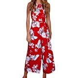 SO-WU Women Summer Casual Sleeveless Floral Print Wide Leg Pants, Jumpsuit Rompers Playsuits