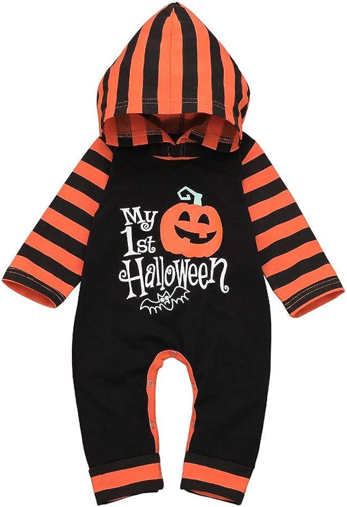 0-18 Monate, Schwarz + Wei/ß Hut Kleinkind Hosen 3 ST/ÜCKE Ghost Print Overall Halloween Kost/üme Neugeborenes Baby Jungen Und M/ädchen Langarm Kleidung