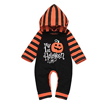 2Pcs My First Halloween Outfits Newborn Baby Boys Girls Romper with Socks Pumpkin Jumpsuit Bodysuits