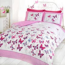 Just Contempo Cotton Blend Girls Butterfly Bedding - Reversible Polka Dot Cotton Rich Duvet Cover Bed Set King Size, Pink