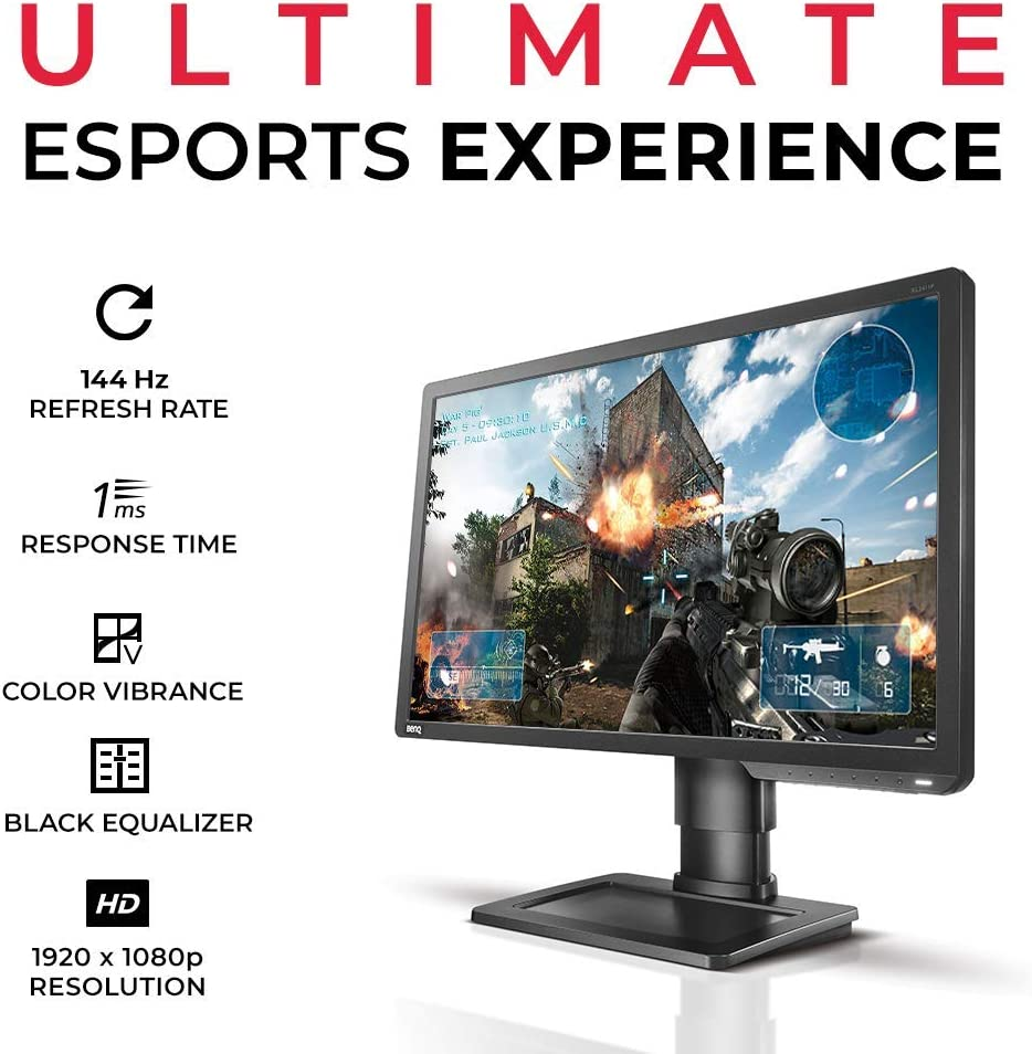 BenQ ZOWIE XL2411P 24 Inch 144 Hz e-Sports Gaming Monitor with 1 ms Display Port Black eQualizer Height Adjustable Stand Refurbished Dark Grey