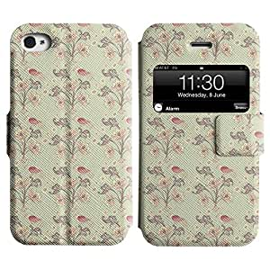 LEOCASE Pájaros Y Flores Funda Carcasa Cuero Tapa Case Para Apple iPhone 4 / 4S No.1000537