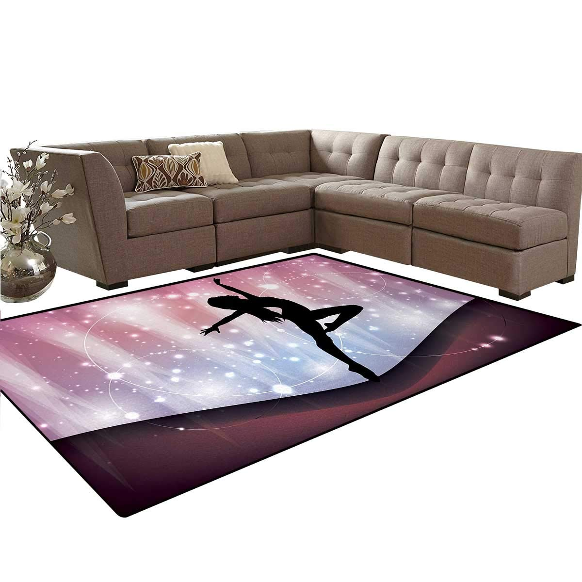 Contemporary,Floor Mat,Silhouette of Ballerina Performing on Abstract Backdrop Magic Dance Fine Arts,Anti-Skid Area Rug,Multicolor,5'x6'