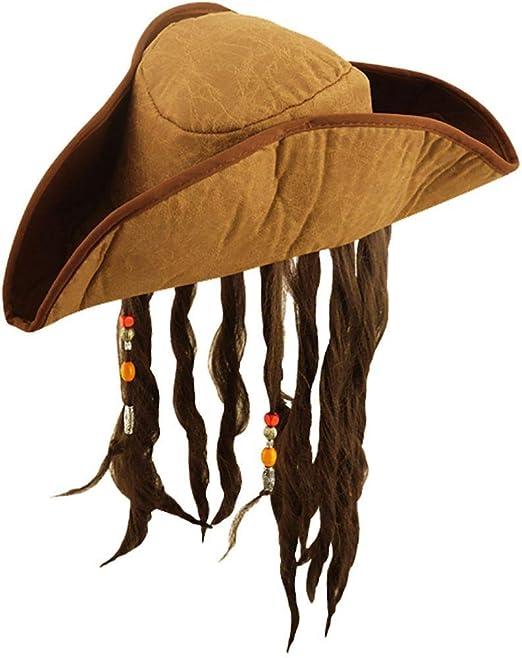 Sombrero de pirata del Caribe Jack Sparrow estilo con pelo: Amazon ...