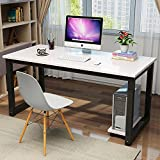 Modern Computer Desk 47' Simple Style PC Laptop Sturdy Wooden Study Office Training Meeting Desk for Home Office School, White + Black Leg
