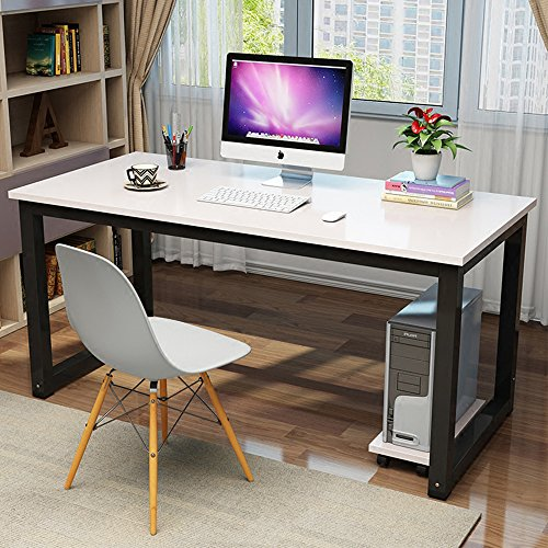 "Modern Computer Desk 47"" Simple Style PC Laptop Sturdy Wooden Study Office Training Meeting Desk for Home Office School, White + Black Leg"