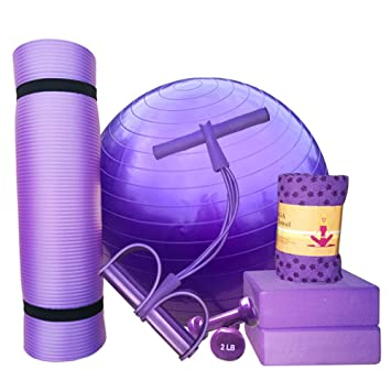 Yoga Juego Lila 1 Yoga estera de NBR, 1 pelota de yoga de PVC,