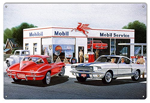 Garage Art Signs Mobil Pegasus Gas Station Reproduction Sign by Jack Schmitt 12x18