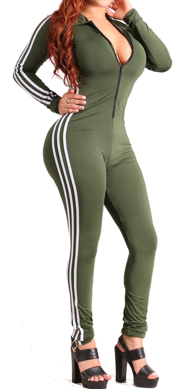 - 61p1hcAGRCL - LaCouleur Women's Stripes Long Sleeve Zip Up Sport Bodycon Jumpsuit Romper Zentai Bodysuit Unitard