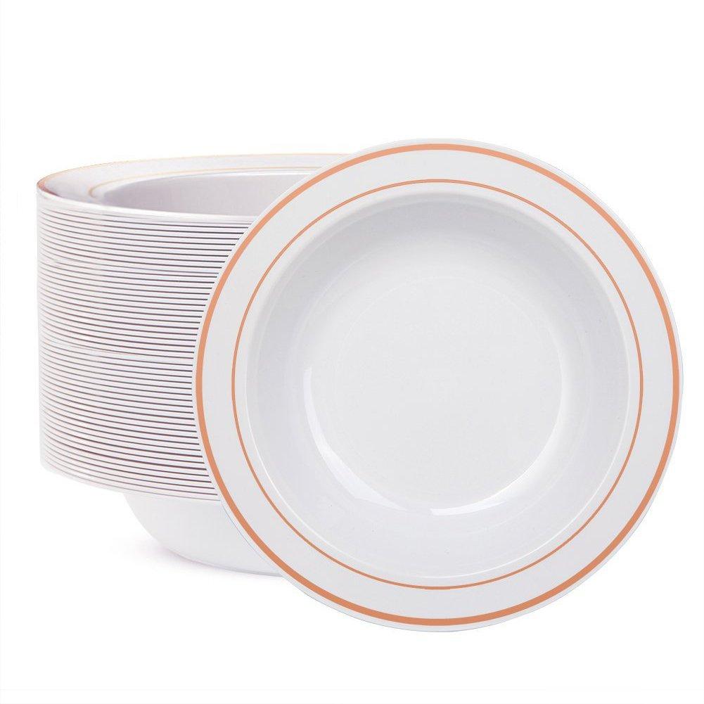 WDF 60pcs Disposable Plastic Bowls-12 oz Soup Bowls - Rose Gold Trim Real China Design - Premium Heavy Duty Plastic Plates for Wedding/Parties