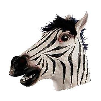 Careta animal africano Máscara cebra Accesorio carnaval animal salvaje Accesorio disfraz adulto Antifaz caballo rayado Mascarilla