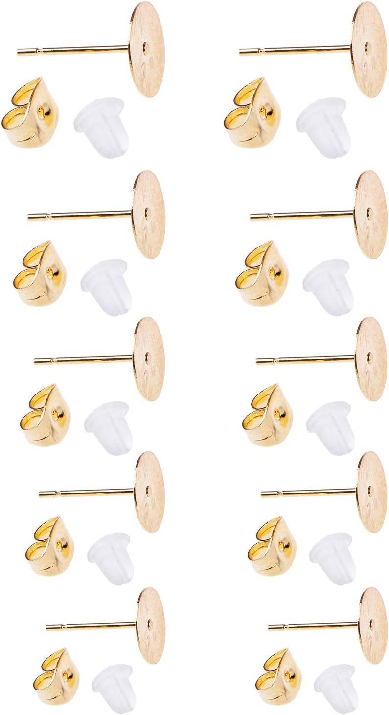 200 Pcs 5 Sizes Hypoallergenic Stainless Steel Earrings Posts Flat Pad Blank Earring Pin Studs with 200 Pcs Butterfly Earring Backs 200 Pcs Silicone Bullet Earring Backs for Jewelry Making Findings