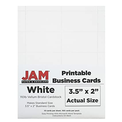 photograph relating to Printable Vellum identified as JAM PAPER Printable Place of work Playing cards - 3 1/2 x 2 - White Vellum - 100/Pack