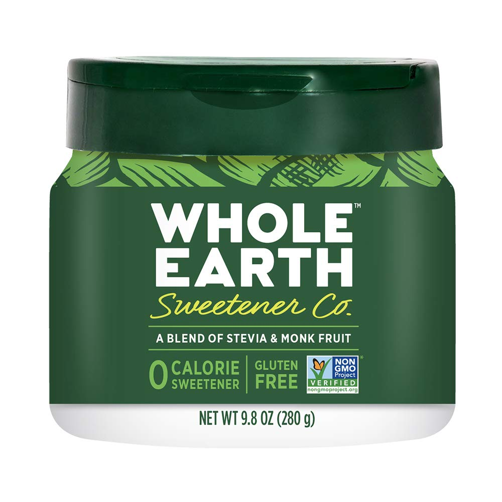 WHOLE EARTH Stevia & Monk Fruit Plant-Based Sweetener, 9.8 Ounce Jar