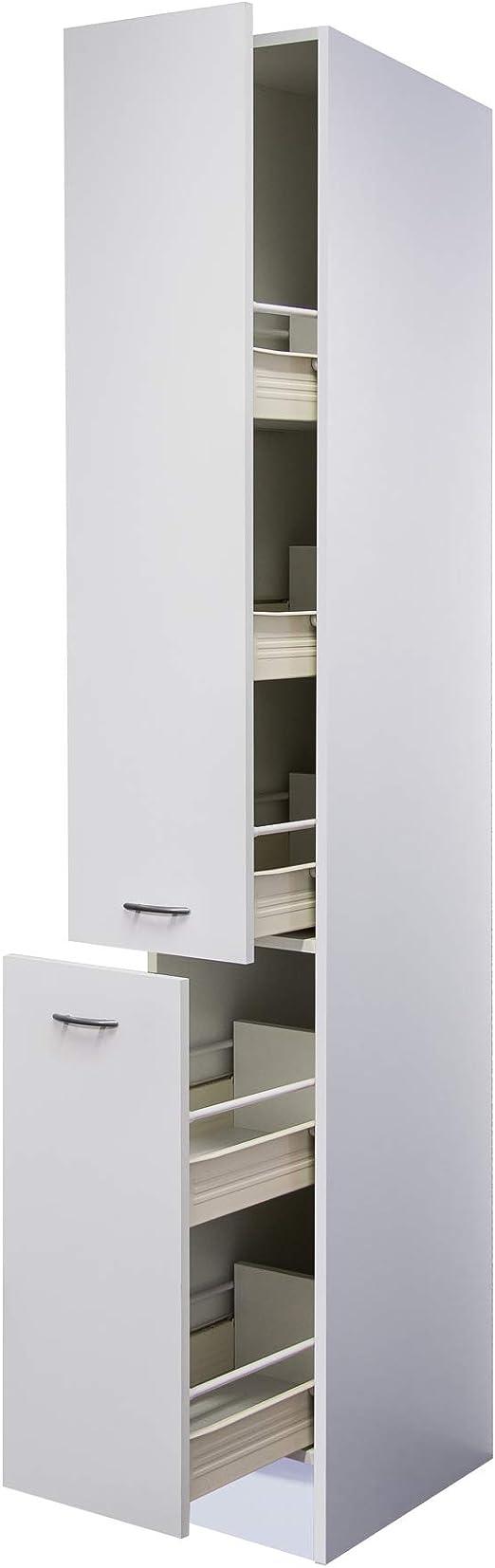 Flex-Well Apothekerschrank UNNA  Hochschrank  20 Front-Auszüge, 20  Schubkästen  Breite 20 cm  Weiß