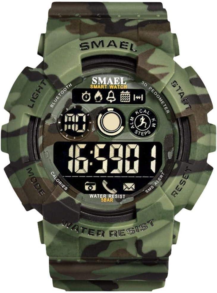 Simshew Rastreador de Ejercicios Smael Bluetooth Podómetro Cronómetro 50m Reloj Inteligente Resistente al Agua Monitorización de la frecuencia cardíaca y del Sue (Color : Camouflage Green)