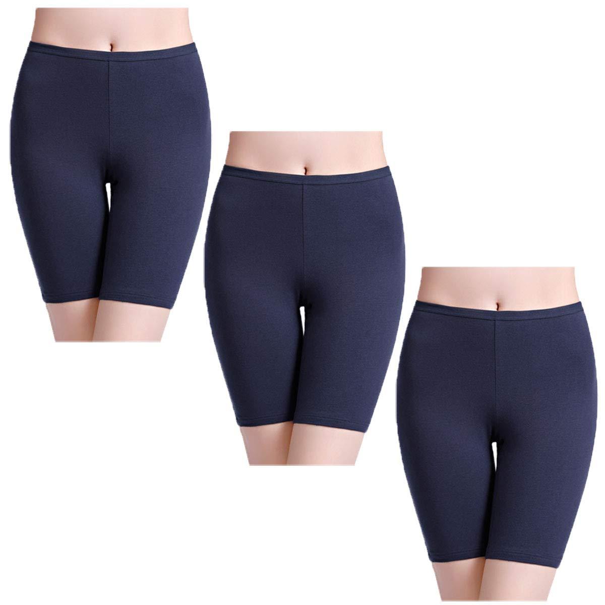 wirarpa Women's Shorts High Rise Cotton Knickers 3 Pack Anti Chafing Underwear Comfortable Cycling Running Gym Boyshorts Leggings Under Dresses Size S-XXL W-Boy Shorts-01