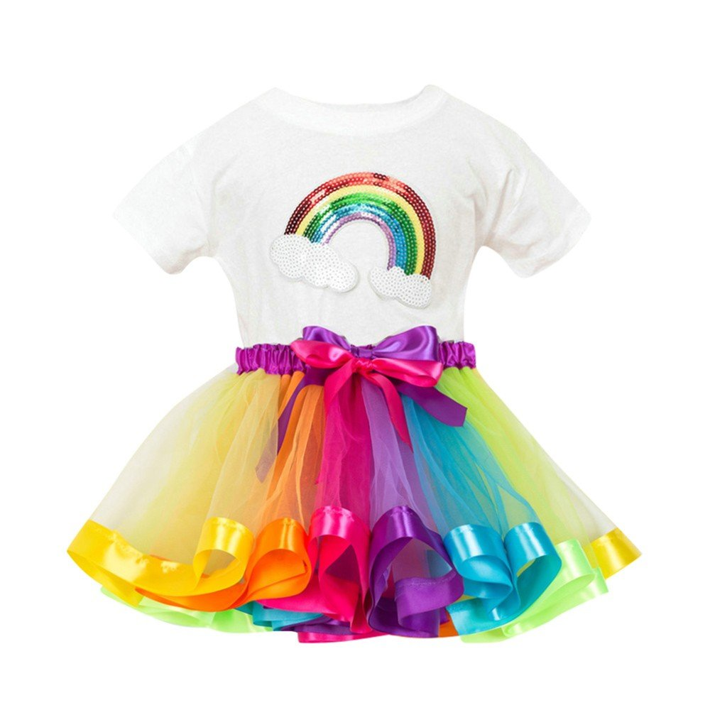 Birdfly Kid Girl Paillette Crown Decoration Colorful Tops T-Shirt + Rainbow Skirt Ballet Skirt Dress