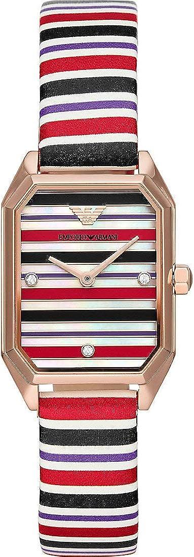 Emporio Armani para Mujer Gioia de Dos manecillas con Caja en Acero Inoxidable y Reloj con Correa de Cuero a Rayas Multicolor AR11301
