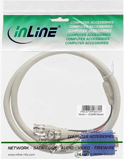 Inline 17945 Vga Bnc Kabel 5x Bnc Stecker An 15pol Hd Elektronik