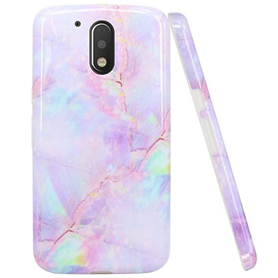 new concept 87f00 f9d09 JAHOLAN Moto G4 Case Moto G4 Plus Case Purple Marble Design Slim Shockproof  Flexible TPU Soft Case Rubber Silicone Cover Phone Case for Motorola Moto  ...