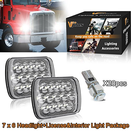 "Vplus 6x7inch 5"" x 7""LED Headlights Dual Beam Headlight w/ Blue T10 Interior Lights for FordJeep Wrangler YJ Cherokee XJ Trucks 4X4 Offroad Headlamp H6054 H6014 H6052 6053 H5054 Replacement-22Pcs"