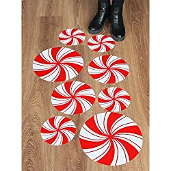 Peppermint Floor Decals Stickers for Christmas Candy Party Decoration 8 Pcs
