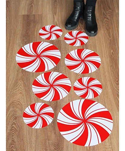 Peppermint Floor Decals/ Stickers for Christmas Party Decoration (Decals Christmas Wall)