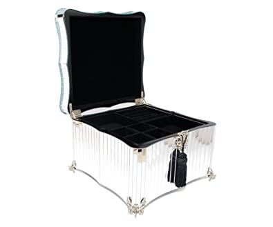 amazon com glamour mirrored jewelry box jewelry boxes jewelry