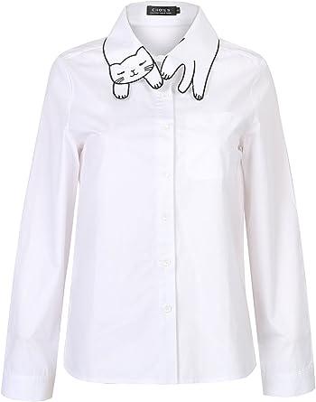 Choies Mujer Camisa Blanca Liso Casual con Cuello Adornado de ...