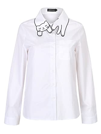 bc910037b Choies Women s Cotton White Cat Pattern Collar Pocket Detail Long Sleeve  Office Shirt S