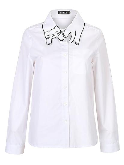 Amazon Com Choies Women S Cotton White Cat Pattern Collar Pocket