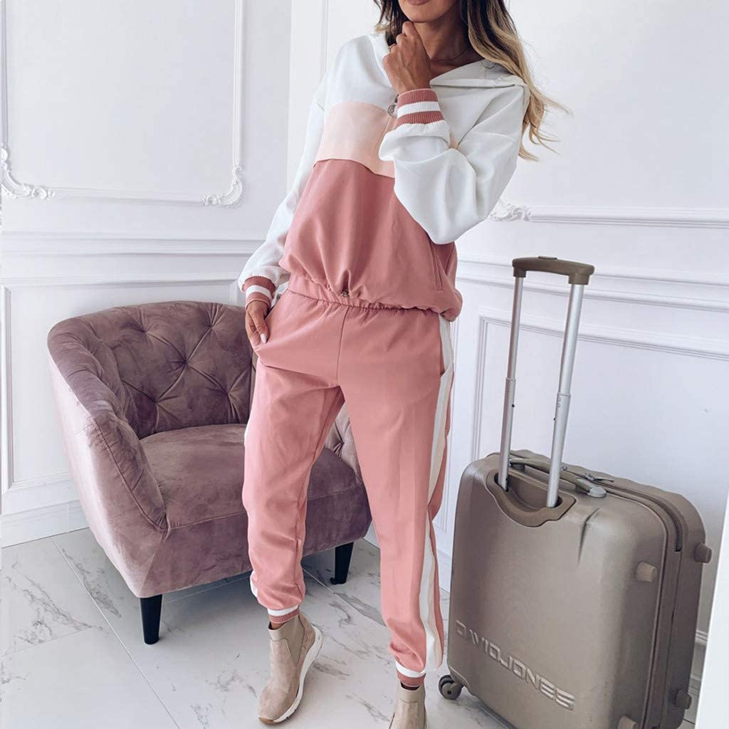 Women Hooded Tracksuit Long Sleeve Color Block Sweatshirt Striped Pants Sets Active Casual 2 Pieces Outfits Jogging Sweatsuit Sportswear