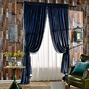 Melodieux Set of 2 Pom Pom Velvet Blackout Lined Thermal Insulated Rod Pocket Curtains for Bedroom, 52×84 Inch, Royal Blue (1 Pair)