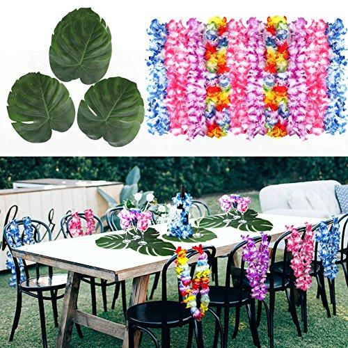 Aytai Luau Decorations - 24pcs Large Artificial Tropical Palm Leaves + 24pcs Hawaiian Leis for Tropical Jungle Beach Theme Hawaiian Party Wedding Table (Hawaiin Theme)
