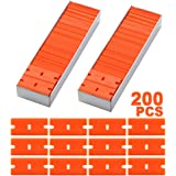 "FOSHIO 200Pcs 1.5"" Plastic Razor Blades for Safety Titan Scraper, Double Edged Plastic Scraper Blades Remove Decals/Stickers/Adhesive Label/Clean Glass"