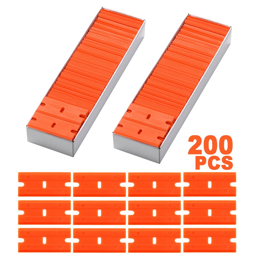 FOSHIO 1.5'' Plastic Razor Blades for Safety Titan Scraper - Included 200pcs Double Edged Plastic Blades by FOSHIO